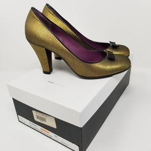 Marc Jacobs Taffetas Bronze Bow Pumps Heels